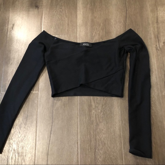 ANGL Tops - ANGL cropped off the shoulder long sleeve top